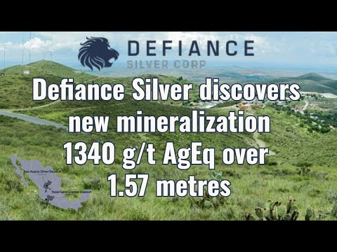 Defiance Silver discovers new mineralization 1340 g/t AgEq over 1.57 meters