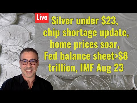 Silver under $23, chip shortage update, home prices soar, Fed bal sheet over $8 trillion, IMF Aug 23